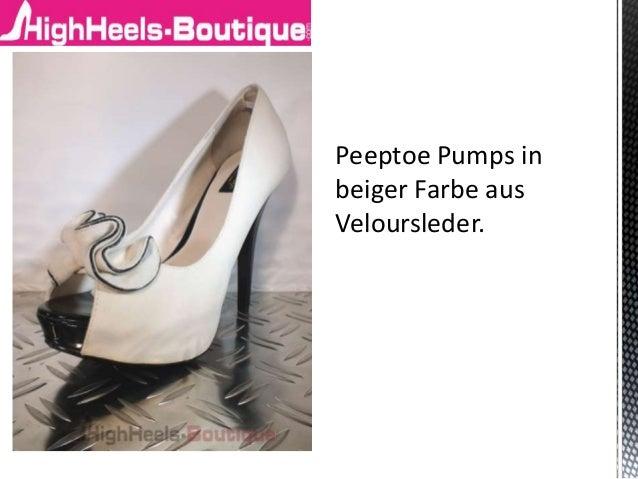 Peeptoe Pumps in beiger Farbe aus Veloursleder.
