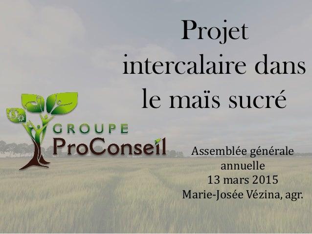 Projet intercalaire dans le maïs sucré Assemblée générale annuelle 13 mars 2015 Marie-Josée Vézina, agr.