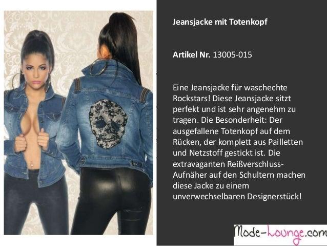 Jeansjacke mit Totenkopf  Artikel Nr. 13005-015 Jeansprint Leggings Eine Jeansjacke für waschechte Rockstars! Diese Jeansj...