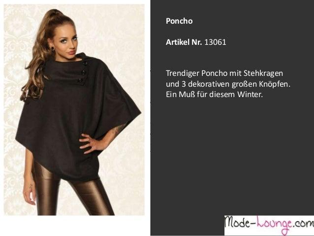 Poncho Artikel Nr. 13061 Jeansprint Leggings Trendiger Poncho mit Stehkragen und 3 dekorativen großen Knöpfen. Ein Muß für...