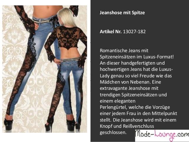 Jeanshose mit Spitze  Artikel Nr. 13027-182 Jeansprint Leggings Romantische Jeans mit Spitzeneinsätzen im Luxus-Format! Ar...