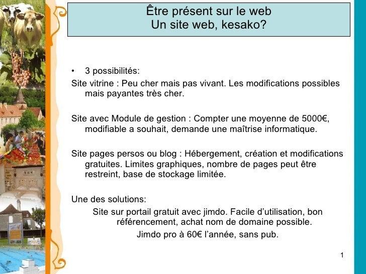 Être présent sur le web Un site web, kesako? <ul><li>3 possibilités: </li></ul><ul><li>Site vitrine : Peu cher mais pas vi...