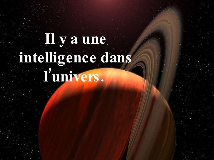 Il y a une intelligence dans l'univers.