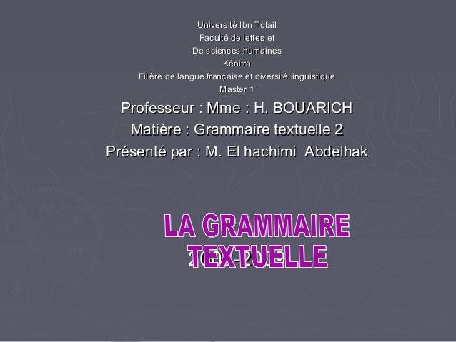 Université Ibn Tofail                    Faculté de lettes et                   De sciences humaines                      ...
