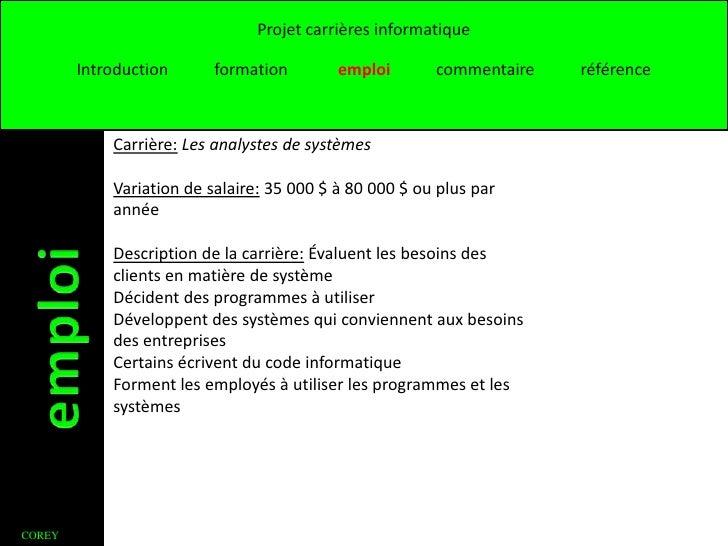 Projet carrières informatique        Introduction      formation        emploi       commentaire   référence            Ca...