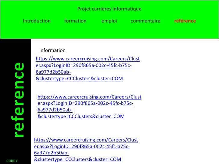Projet carrières informatique        Introduction     formation       emploi       commentaire   référence               I...