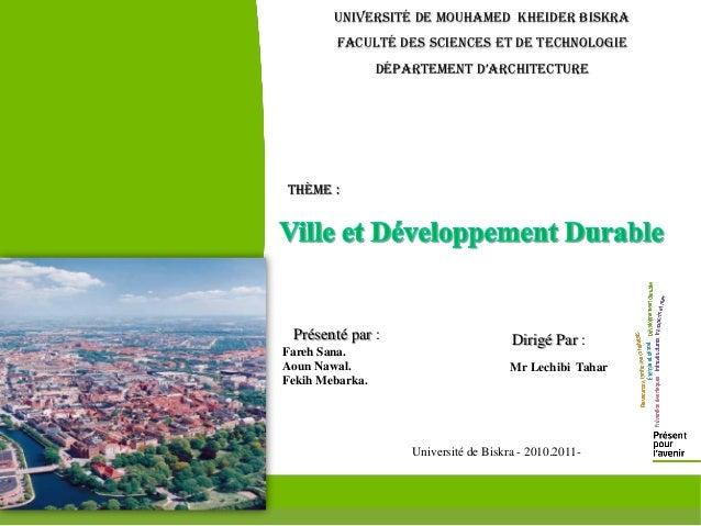 Université de Mouhamed Kheider Biskra        Faculté des Sciences et de technologie                 Département D'architec...
