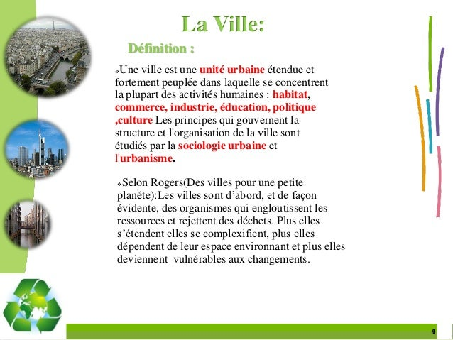 Ville et d veloppement durable - Definition de conception ...