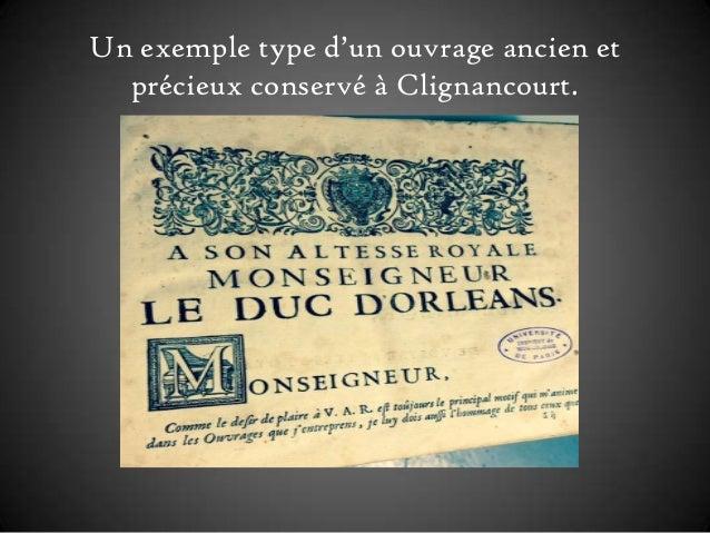 Un exemple type d'un ouvrage ancien et précieux conservé à Clignancourt.