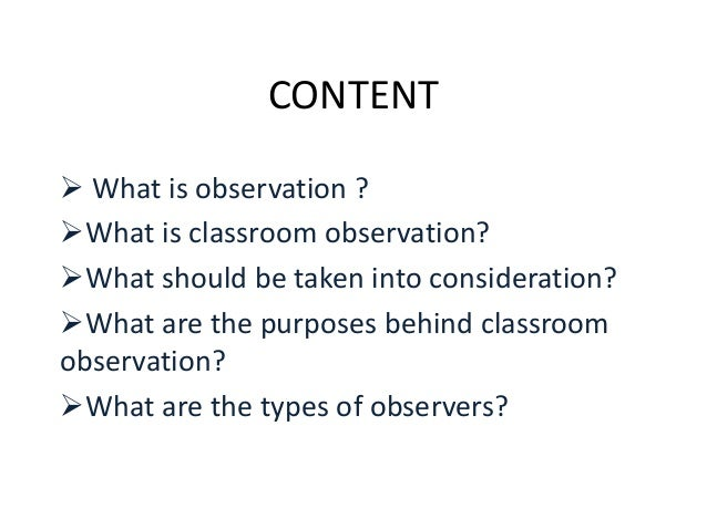 classroom observation and type of observers