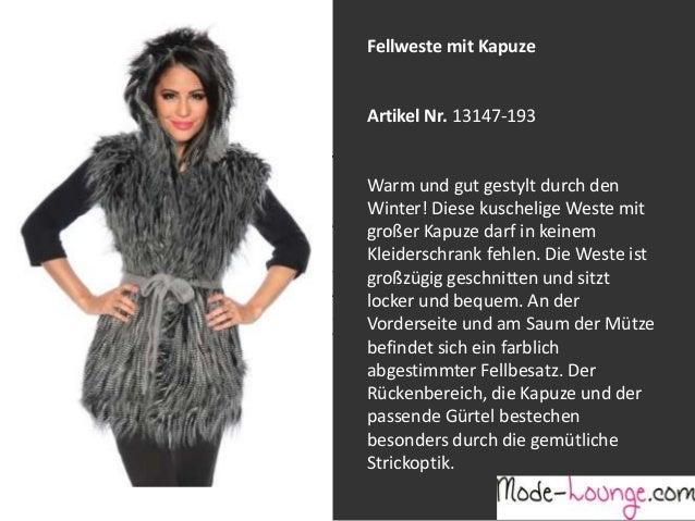 Fellweste mit Kapuze  Artikel Nr. 13147-193 Jeansprint Leggings Warm und gut gestylt durch den Winter! Diese kuschelige We...
