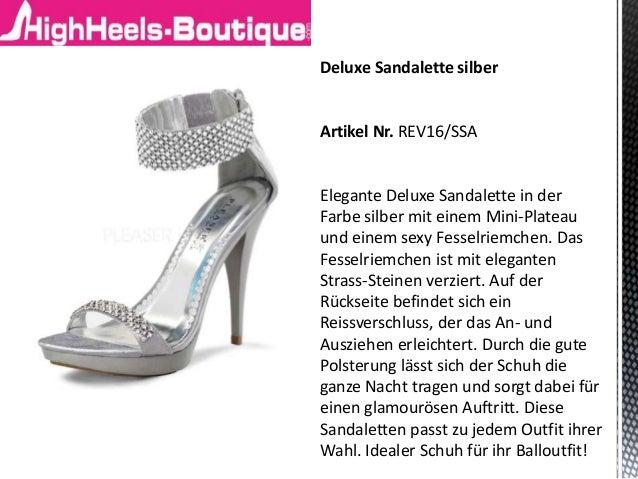 Deluxe Sandalette silber Artikel Nr. REV16/SSA Elegante Deluxe Sandalette in der Farbe silber mit einem Mini-Plateau und e...