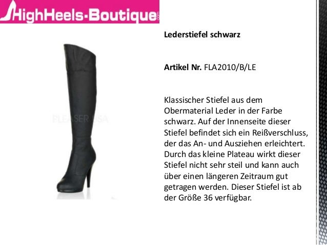 Lederstiefel schwarz Artikel Nr. FLA2010/B/LE Klassischer Stiefel aus dem Obermaterial Leder in der Farbe schwarz. Auf der...