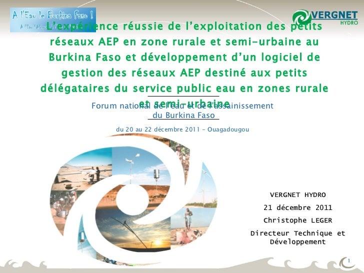 L'expérience réussie de l'exploitation des petits réseaux AEP en zone rurale et semi-urbaine au Burkina Faso et développem...