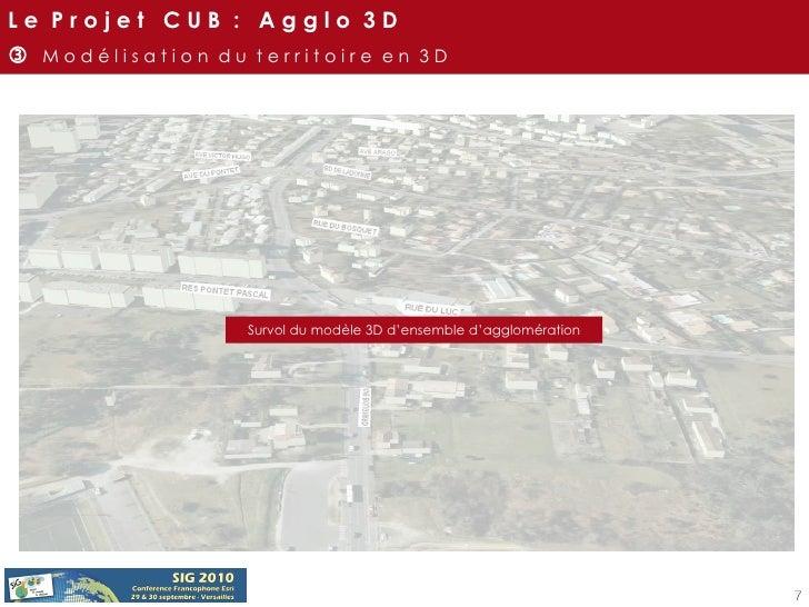 Survol du modèle 3D d'ensemble d'agglomération L e  P r o j e t  C U B  :  A g g l o  3 D    M o d é l i s a t i o n  d u...