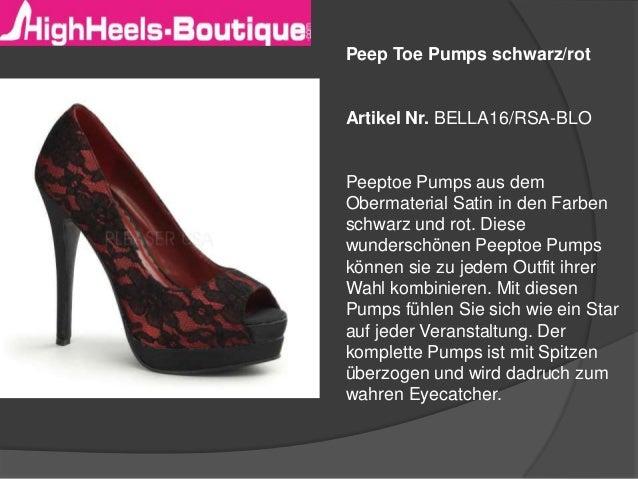 Peep Toe Pumps schwarz/rot  Artikel Nr. BELLA16/RSA-BLO  Peeptoe Pumps aus dem Obermaterial Satin in den Farben schwarz un...