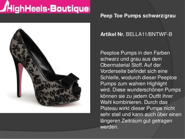 Peep Toe Pumps schwarz/grau  Artikel Nr. BELLA11/BNTWF-B  Peeptoe Pumps in den Farben schwarz und grau aus dem Obermateria...