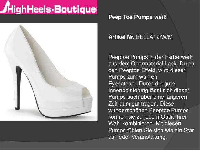 Peep Toe Pumps weiß  Artikel Nr. BELLA12/W/M  Peeptoe Pumps in der Farbe weiß aus dem Obermaterial Lack. Durch den Peeptoe...