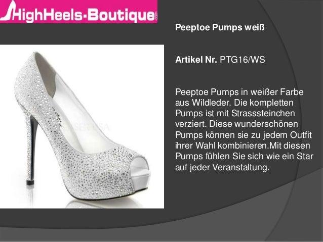 Peeptoe Pumps weiß  Artikel Nr. PTG16/WS  Peeptoe Pumps in weißer Farbe aus Wildleder. Die kompletten Pumps ist mit Strass...