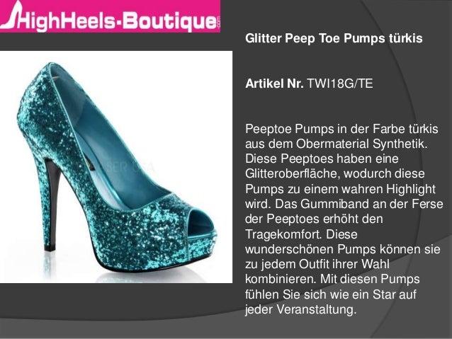 Glitter Peep Toe Pumps türkis  Artikel Nr. TWI18G/TE  Peeptoe Pumps in der Farbe türkis aus dem Obermaterial Synthetik. Di...