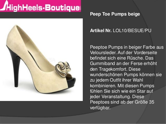 Peep Toe Pumps beige  Artikel Nr. LOL10/BESUE/PU  Peeptoe Pumps in beiger Farbe aus Veloursleder. Auf der Vorderseite befi...