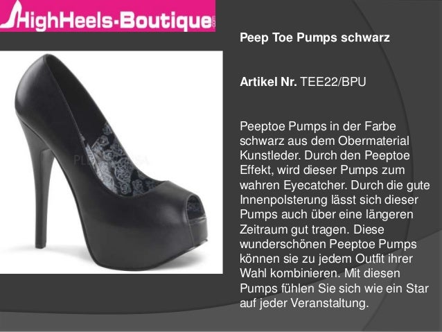 Peep Toe Pumps schwarz  Artikel Nr. TEE22/BPU  Peeptoe Pumps in der Farbe schwarz aus dem Obermaterial Kunstleder. Durch d...