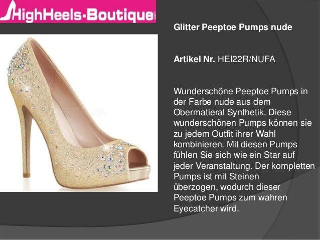 Glitter Peeptoe Pumps nude  Artikel Nr. HEI22R/NUFA  Wunderschöne Peeptoe Pumps in der Farbe nude aus dem Obermatieral Syn...
