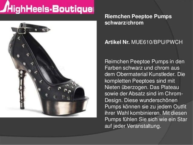 Riemchen Peeptoe Pumps schwarz/chrom  Artikel Nr. MUE610/BPU/PWCH  Reimchen Peeptoe Pumps in den Farben schwarz und chrom ...