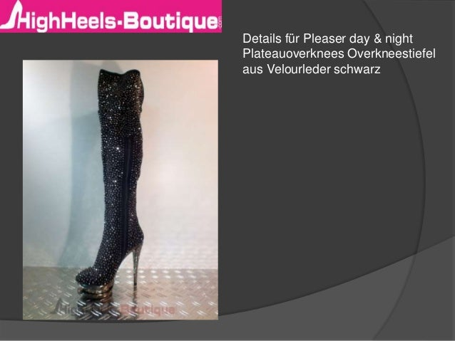 Details für Pleaser day & night  Plateauoverknees Overkneestiefel  aus Velourleder schwarz