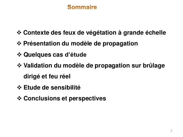  Contexte des feux de végétation à grande échelle  Présentation du modèle de propagation  Quelques cas d'étude   Valid...