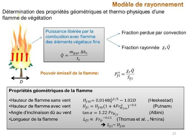 Détermination des propriétés géométriques et thermo-physiques d'une flamme de végétation Fraction perdue par convection Fr...
