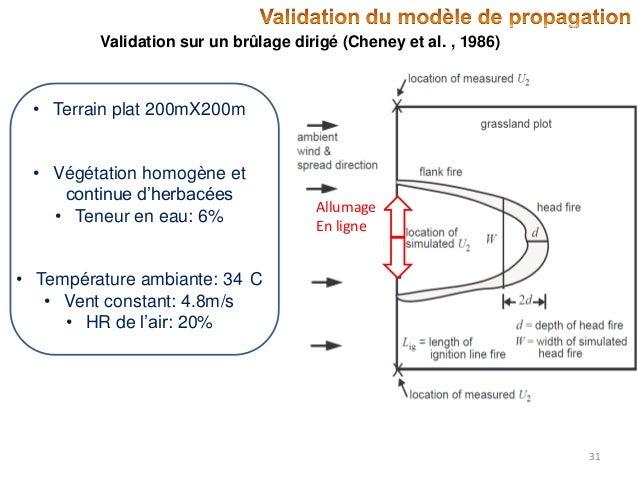 Validation sur un brûlage dirigé (Cheney et al. , 1986)  • Terrain plat 200mX200m  • Végétation homogène et continue d'her...