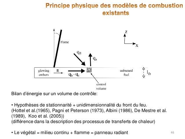 Bilan d'énergie sur un volume de contrôle: • Hypothèses de stationnarité + unidimensionnalité du front du feu. (Hottel et ...