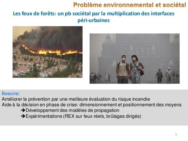 Les feux de forêts: un pb sociétal par la multiplication des interfaces péri-urbaines  Besoins: Améliorer la prévention pa...