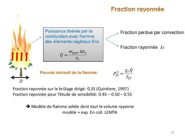 Fraction perdue par convection Fraction rayonnée  Pouvoir émissif de la flamme:  Fraction rayonnée sur le brûlage dirigé: ...