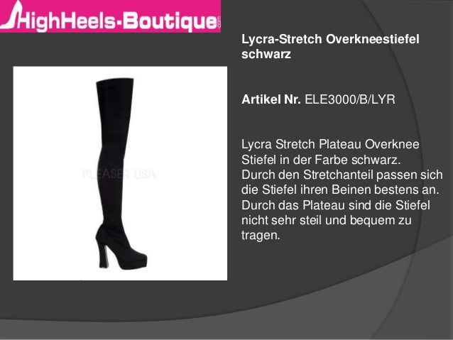 Lycra-Stretch Overkneestiefel  schwarz  Artikel Nr. ELE3000/B/LYR  Lycra Stretch Plateau Overknee  Stiefel in der Farbe sc...