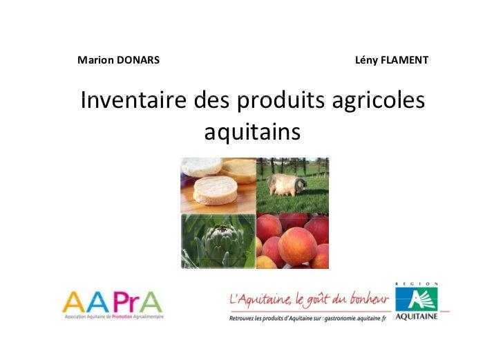 MarionDONARS M i DONARS                Lény                           Lé FLAMENT   Inventairedesproduitsagricoles Inv...