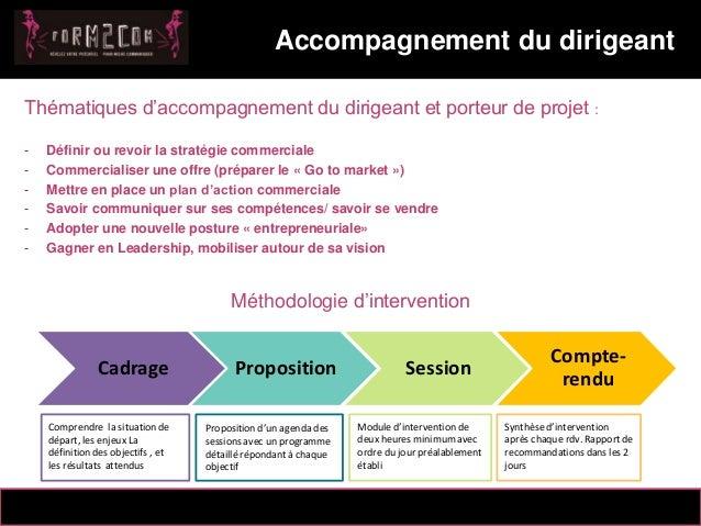 14/10/2012 Thématiques d'accompagnement du dirigeant et porteur de projet : - Définir ou revoir la stratégie commerciale -...