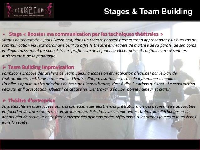 14/10/2012 Stages & Team Building 7 Messaoud Mahmoud  Stage « Booster ma communication par les techniques théâtrales » St...