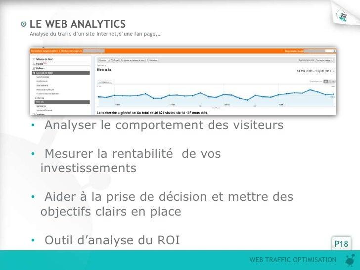 LE WEB ANALYTICS  Analyse du trafic d'un site Internet,d'une fan page,…Amélioration de la popularité du site Web  • Analys...
