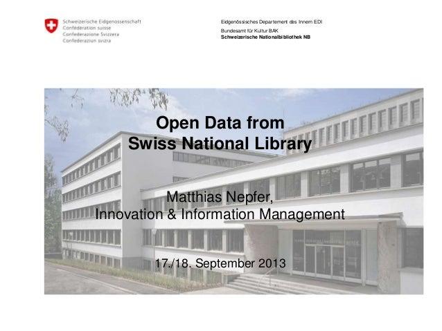 Eidgenössisches Departement des Innern EDI Bundesamt für Kultur BAK Schweizerische Nationalbibliothek NB Open Data from Sw...