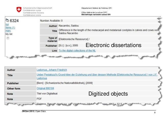 8 OKCon 2013   Open Data Département fédéral de l'intérieur DFI Office fédéral de la culture OFC Bibliothèque nationale su...