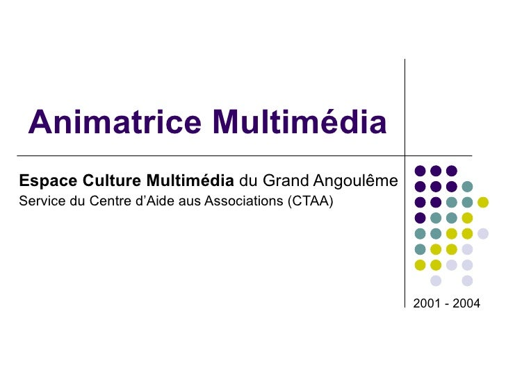 Animatrice Multimédia Espace Culture Multimédia  du Grand Angoulême Service du Centre d'Aide aus Associations (CTAA) 2001 ...