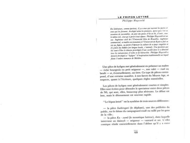 """Pièce de Théâtre """"Japon"""": Le Fripon Lettré"""