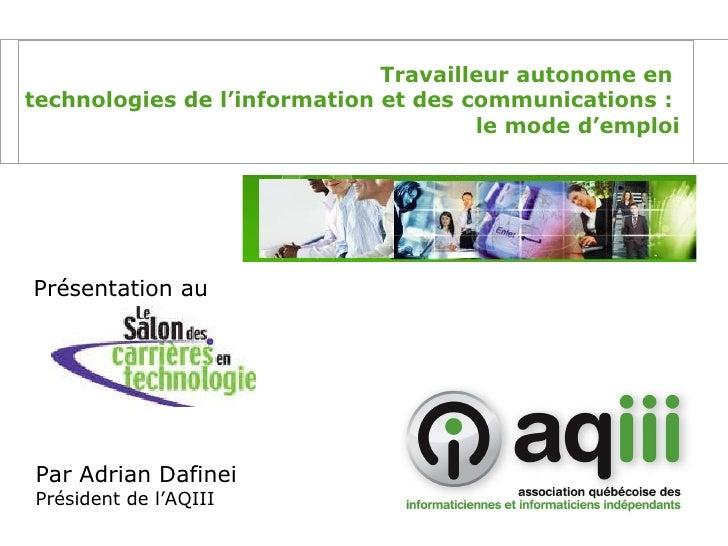 L'ABC du travailleur autonome en TIC