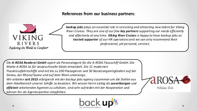 Professional Web Presentation in 3 languages Slovak, English, German www.backup-jobs.com