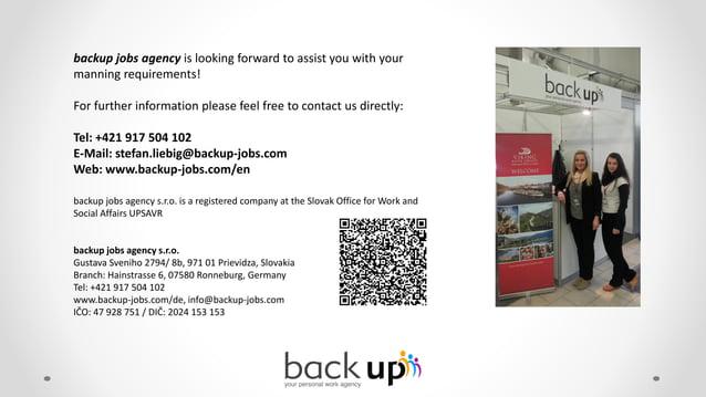 Company presentation - backup jobs agency