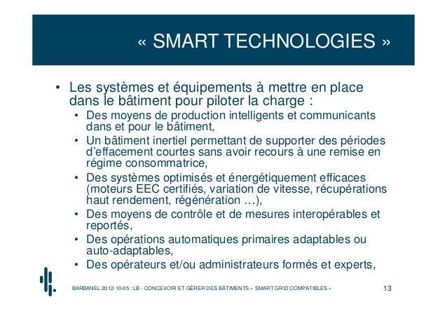 « SMART TECHNOLOGIES »• Les systèmes et équipements à mettre en place  dans le bâtiment pour piloter la charge :  • Des mo...