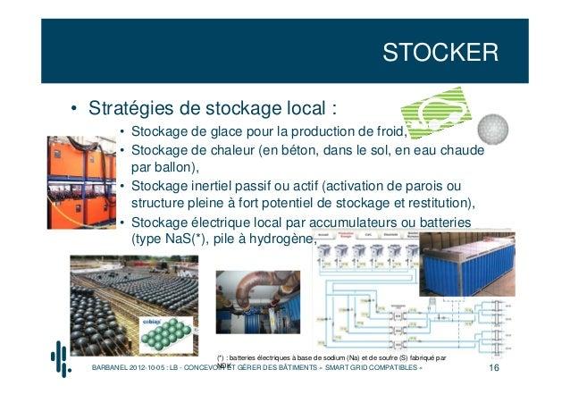 STOCKER• Stratégies de stockage local :          • Stockage de glace pour la production de froid,          • Stockage de c...