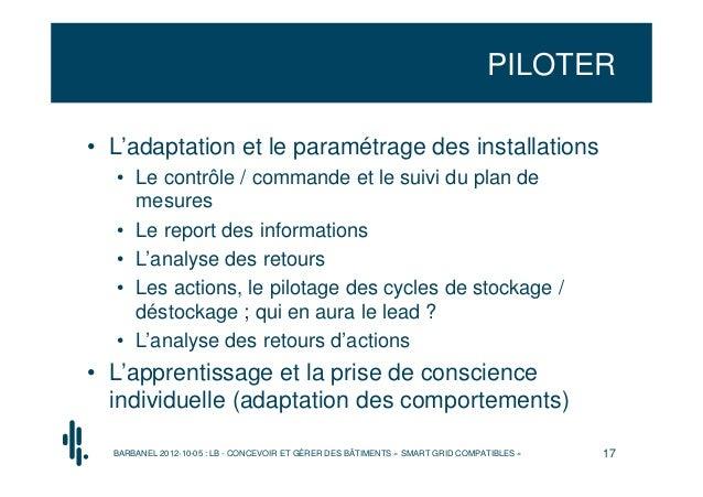 PILOTER• L'adaptation et le paramétrage des installations  • Le contrôle / commande et le suivi du plan de    mesures  • L...
